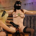 Blindfolded slut and a princess in rubber loves to play dirty