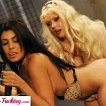 Lesbian lovers have their own dominant session with a strap on