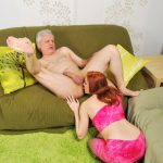 Gorgeous redhead slut gets her cunt slammed by an older man with a hard shaft