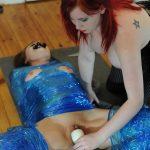 Chubby redhead mummifying her sleepy brunette girlfriend